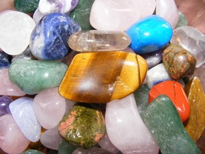 A mixture of various crystal gemstones.