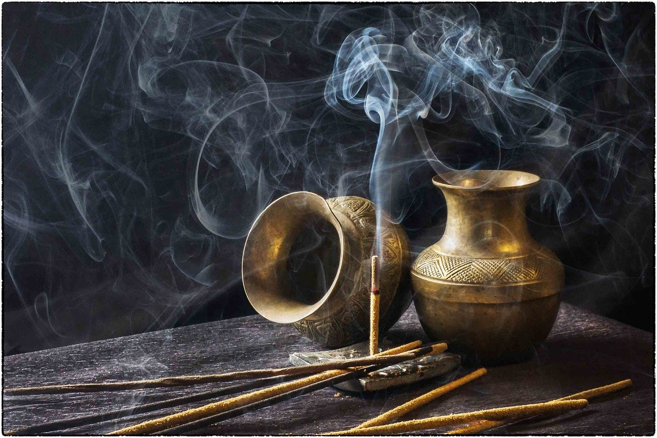 Brass bowls and incense.