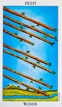 Eight of Wands Tarot Card