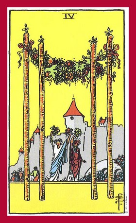 Four of Wands Tarot card. Meaning of this Minor Arcana card in a ...