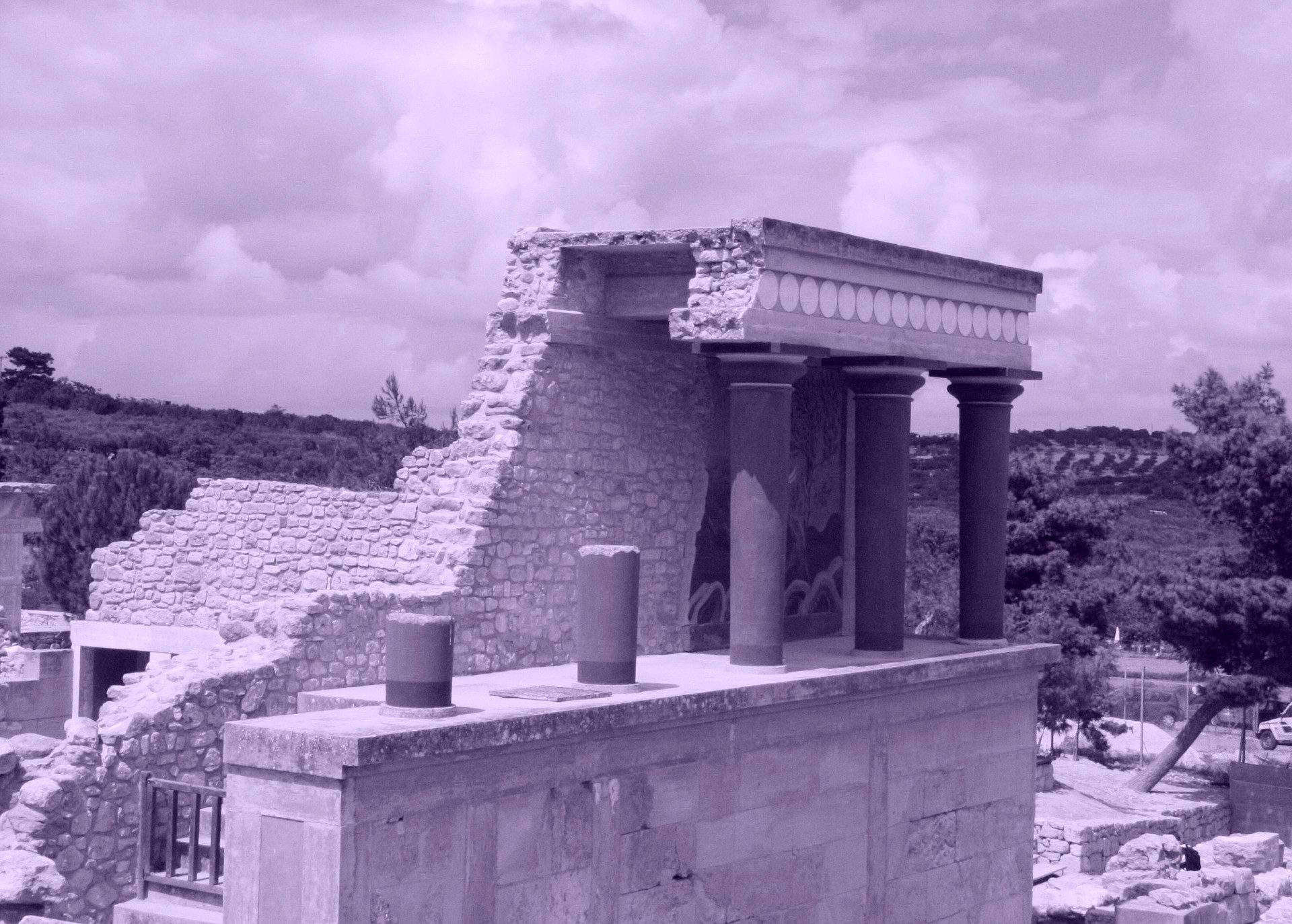 Knossos, Crete, Greece. The most ancient of European civilizations was the Minoan culture which was founded and developed on the Greek island of Crete.